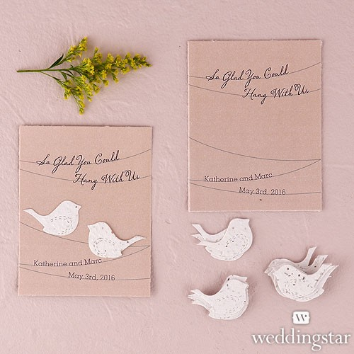 Hang With Us Personalized Favor Card with Seed Paper Love Birds (pkgs of 12)