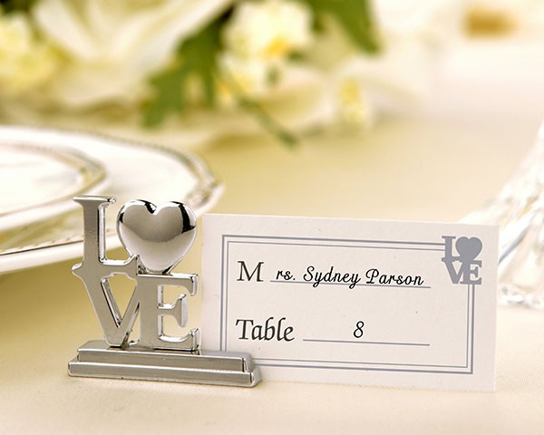 Silver LOVE Place Card Holders with Matching Place Cards (Set of 4)