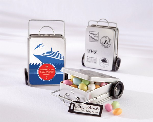 """Miles of Memories"" Suitcase Favor Tins with Optional Personalized Labels (Set of 12)"
