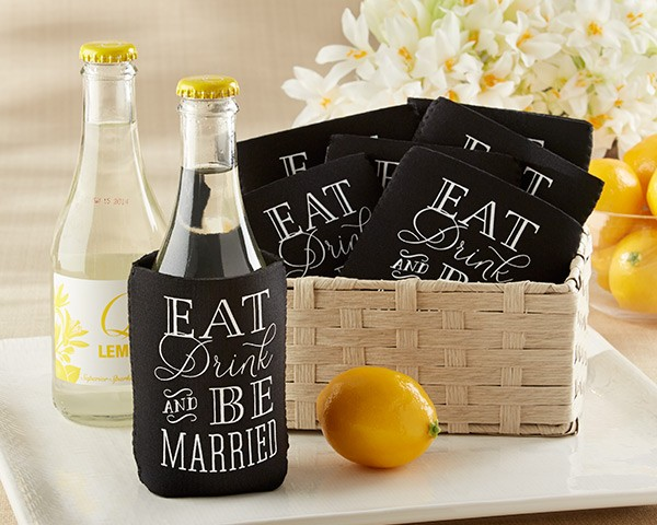 """Eat, Drink & Be Married"" Collapsible Cold-Can Holder (Set of 12)"