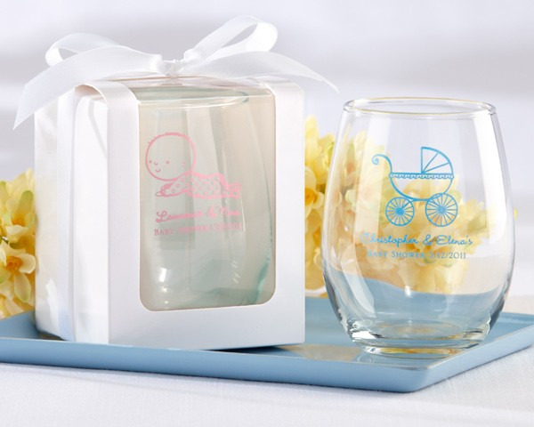 Stemless Personalized 9-oz Wine Glasses - Baby Shower Designs