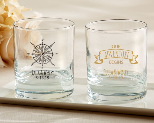 Personalized Rocks Glasses - Travel and Adventure