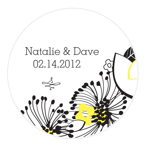 Small Personalized Floral Fusion Wedding Favor Sticker