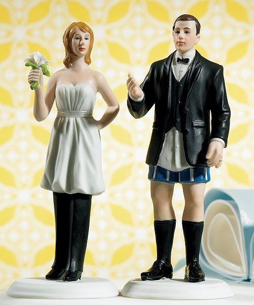 "Bride ""In Charge"" Wearing Pants and Groom ""Not In Charge"" Without Cake Toppers"