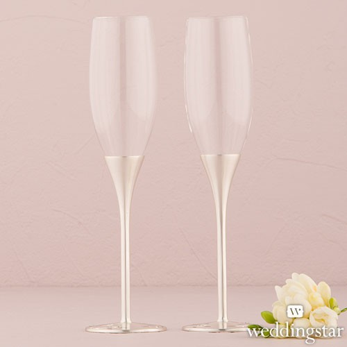 Venice Silver Toasting Flutes