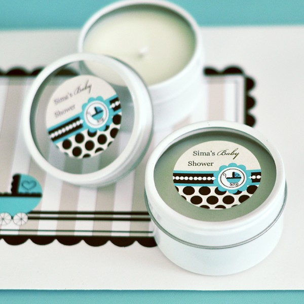 Personalized Round Candle Tins - Blue Baby