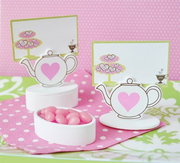 Teapot Place Card favour Boxes with Designer Place Cards (set of 12)