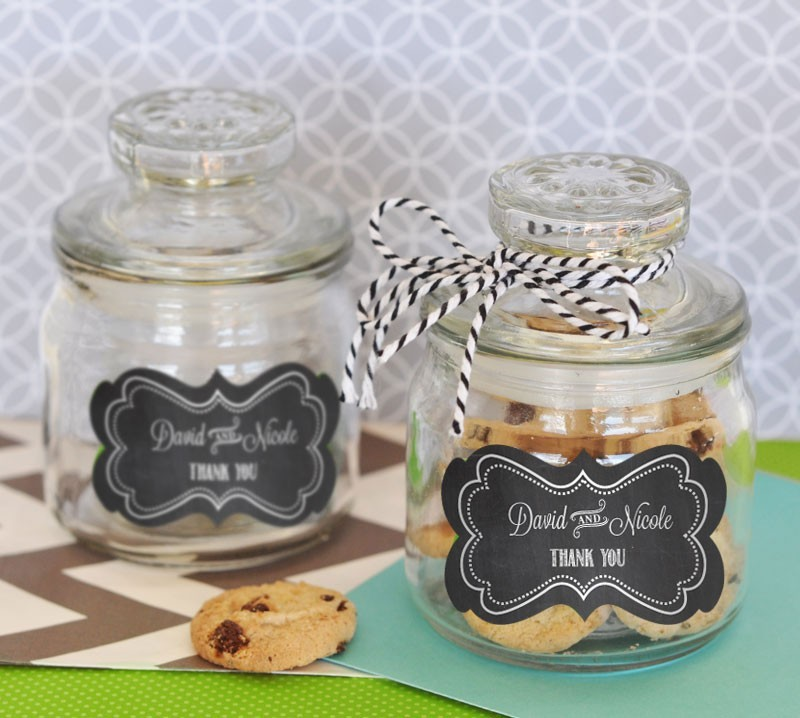 Chalkboard Wedding Personalized Mini Cookie Jars