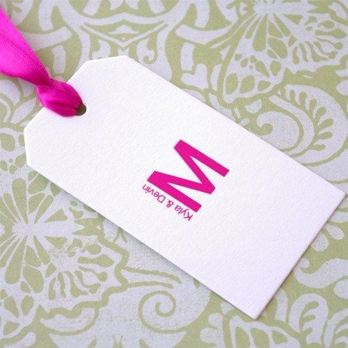 Monogram Rectangle Favour Tags