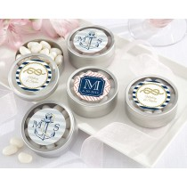 Personalized Round Candy Tin - Kate's Nautical Wedding Collection (Set of 12)