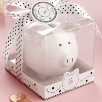 Lil Saver Favour Ceramic Mini-Piggy Bank in Gift Box with Polka-Dot Bow