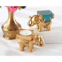 Lucky Elephant Golden Tealight Holder
