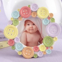 """Cute as a Button"" Round Photo Frame"