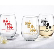 Personalized 15 oz. Stemless Wine Glass - Ho, Ho, Ho