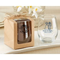 Personalized 9 oz Stemless Wine Glass - Kate's Rustic Wedding Collection