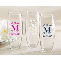 Personalized 9 Oz. Stemless Champagne Glass - Botanical