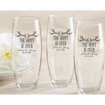 Personalized 9 oz. Stemless Champagne Glass – The Hunt Is Over