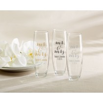 Personalized 9 Oz. Stemless Champagne Glass - Mr. & Mrs.