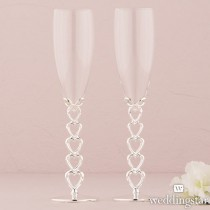 Silver Plated Stacked Hearts Glass Flutes