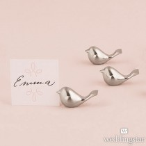Love Bird Card Holders with Brushed Silver Finish (pkgs of 8)
