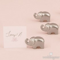 Lucky Elephant Card Holders with Brushed Silver Finish (pkgs of 8)