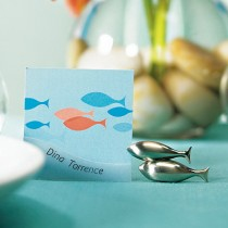 Double Fish Card Holders with Brushed Silver Finish (pkgs of 8)