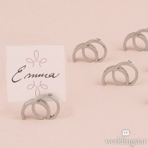 Double Rings With Crystal Place Card Holder (pkgs of 8)