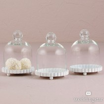 Miniature Glass Bell Jar With White Fluted Base ( Set of 4 )