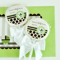 Personalized Lollipop Favours - Green Baby