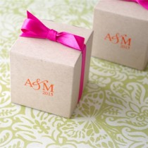 Eco-Friendly Kraft Monogram Cube Favour Box